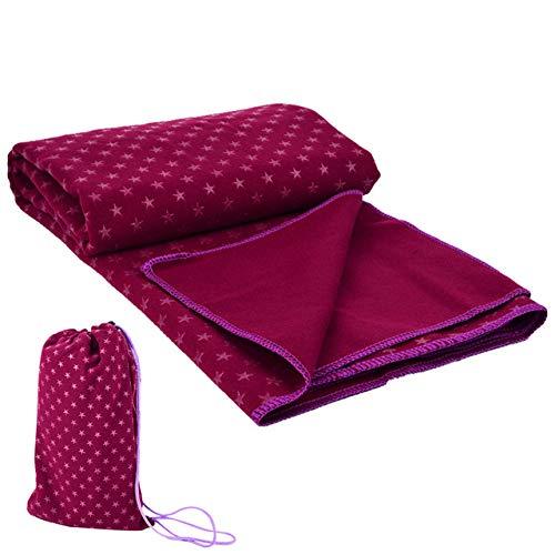 Yoga mat LKU Yogamat hoes ademend antislip yoga handdoek vochtregulerende sportmat gymnastiek fitness massagemat, bordeaux