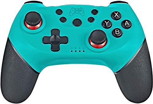 Tanouve Mando para Nintendo-Switch, Controlador Inalámbrico para Nintendo-Switch Pro PC Gamepad Bluetooth Inalámbrico con Doble Choque Vibración Controlador (Azul)