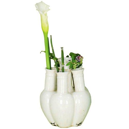 Sunflower-Design Vasenobjekt Krakelee Vase Keramik creme 25cm