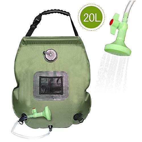PERFETSELL Solar Dusche Tasche 5 Gallonen/20L Tragbare Camping Dusche Tasche Solar Heizung Outdoor Warmwasser Dusche Gartendusche Reisedusche mit Duschkopf & On-Off Switchable Wandern Wassersack