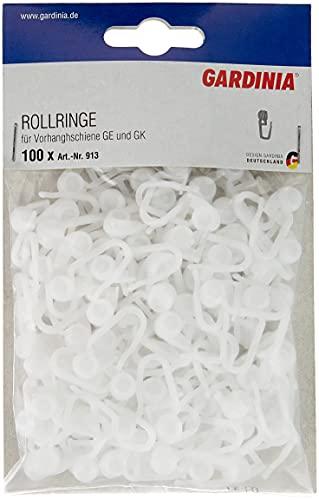 GARDINIA Rollringe für Vorhangschienen GE und P2Ü, 100 Stück, UV-beständig, Kunststoff, Weiß