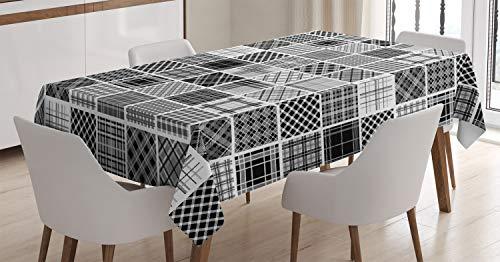 ABAKUHAUS Gris Mantele, Tela Escocesa del Remiendo Retro, Estampado con la Última Tecnología Lavable Colores Firmes, 140 x 200 cm, Negro Blanco Gris