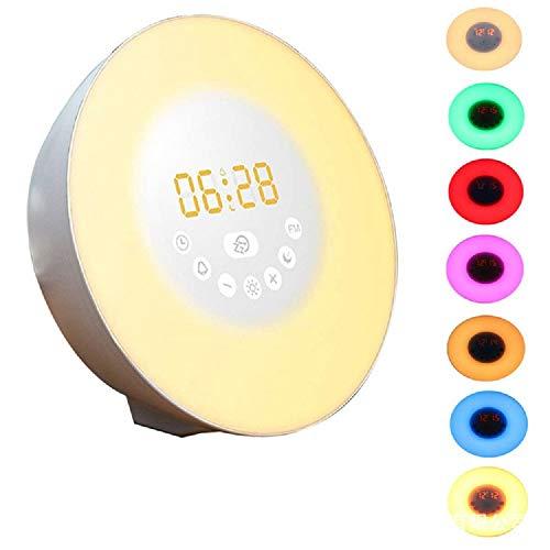 Ayanx alarm LED digitale tafelklokken lichtsimulatie zonsopgang zonsondergang natuurverlichting 7 kleurrijke sfeerverlichting nachtverlichting wandklokken/wit
