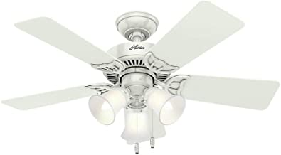 Hunter 51010 Southern Breeze 42-inch White Ceiling Fan with Five White/Bleached Oak Blades and Frosted Glass Light Kit