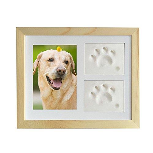 Petilleur Bilderrahmen Hundepfote Fotorahmen Gedenk für Hund und Pfote mit Lehm (Holz)