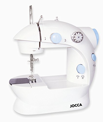Jocca Máquina de Coser eléctrica compacta con Doble Costura, 4 bobinas y Aguja, Blanco, 19,7 x 11,6 x 19,2 cm