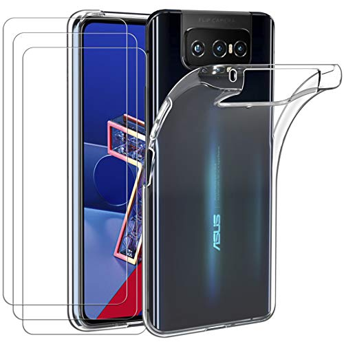 ivoler Hülle für Asus Zenfone 7 ZS670KS / Asus Zenfone 7 Pro ZS671KS + [3 Stück] Panzerglas, Durchsichtig Handyhülle Transparent Silikon TPU Schutzhülle Hülle mit Premium 9H Hartglas Schutzfolie Glas