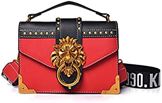 Adebie - Fashion Metal Lion Head Mini Small Square Pack Shoulder Bag Crossbody Package Clutch Women Designer Wallet Handbags Bolsos Mujer Red []