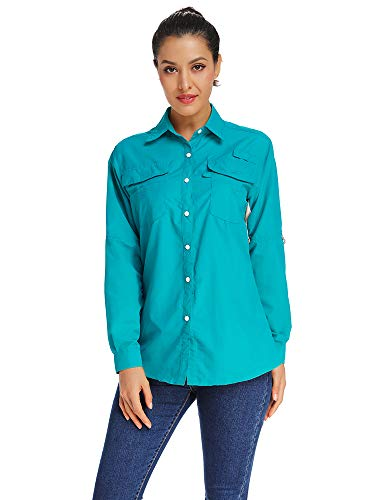 Women's Quick Dry PFG Sun UV Protection Convertible Long Sleeve Shirts for Hiking Fishing Sailing Blue Size S