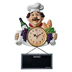 iPreference 2 in 1 Wall Clock and Black Board with Chef Décor Display and Leaving Your Message on The rewritable Black Board, Decoration/Home/Kitchen/Restaurant/Bar