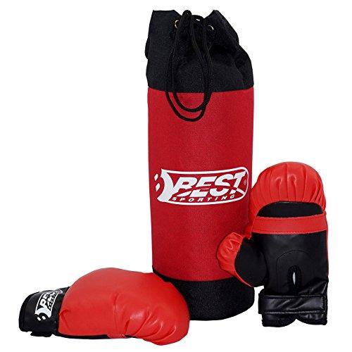 Best Sporting Boxsack und Handschuhe Set für Kinder, rot