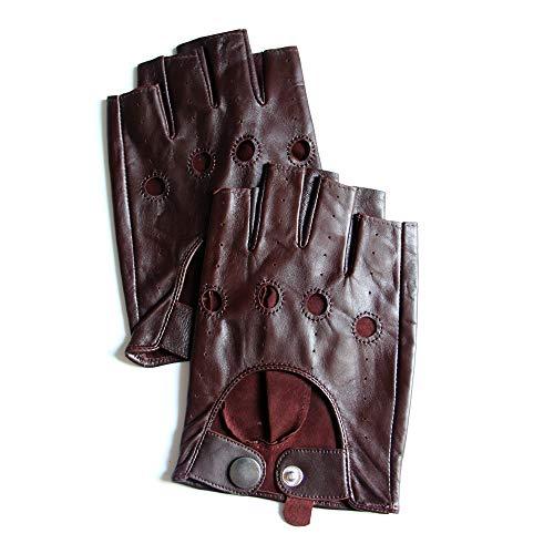YISEVEN Herren Fingerlose Autofahrer Handschuhe aus Leder Ungefüttert Männer Retro Winter Driving Motorrad Lederhandschuhe Autofahrerhandschuhe Echtleder Autohandschuhe Geschenk, Braun XXXL/11.0