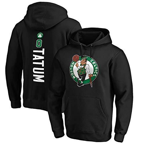 AWEY Celtics Tatum 0# Basketball Hoodie Sweatshirt Men's Pullover Hoodie Comfortable Plus Velvet Warm Casual Long-Sleeved Hooded Top S-3XL Black-M