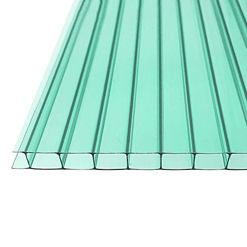 Fscm 14 Stück Polycarbonat Hohlkammerstegplatten Ersatzplatten für Garten Treibhaus 1210x605x4mm ca. 10,25 m² Doppelstegplatte Stegplatte Gewächshausplatte mit UV-beständigen (Grün)