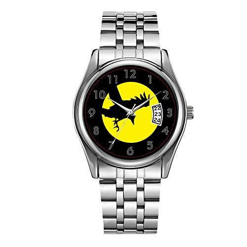 Reloj de lujo de los hombres 30 m impermeable fecha reloj masculino deportes relojes hombres cuarzo casual reloj de pulsera de Navidad negro cielo cuervo cuervo amarillo luna Halloween reloj