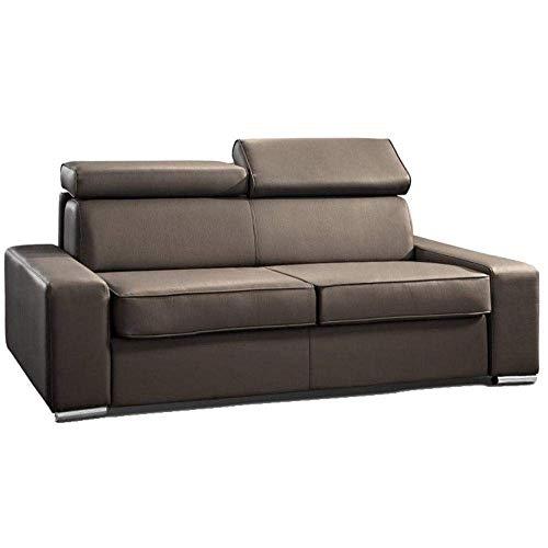 Canapé lit Chicago Convertible Ouverture RAPIDO 140cm Cuir éco Taupe