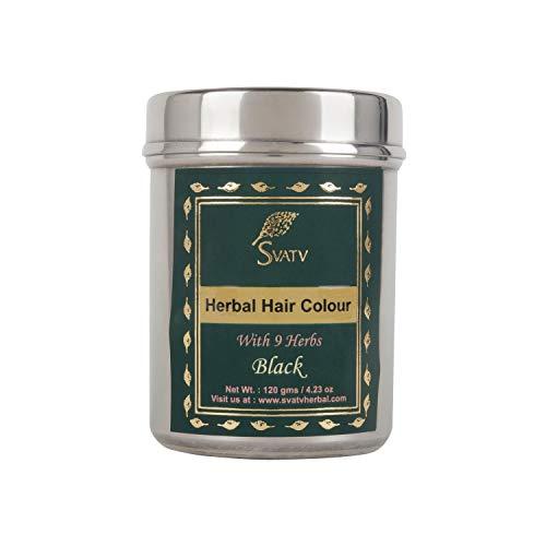 SVATV :: Tinte/tinte para el cabello con henna con 9 hierbas - 120 gramos - Henna para el cabello, color de cabello natural - Tinte para el cabello sin químicos (120 g, negro)