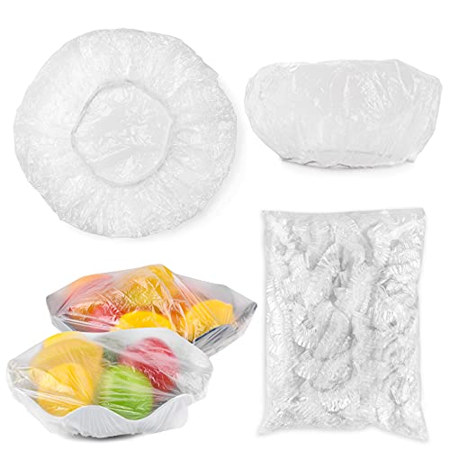 KONUNUS 100PCS Reusable Elastic Stretch Bowl Covers Stretch PE Plastic Food Storage Covers Stretch Wrap Bowl Covers for Leftover and Meal Prep (Clear)