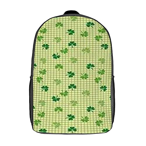 Qtchenglj Travel Laptop Backpack,Retro Classical Checkered Decoed with Cute Green Shamrocks Garden Plants,Large Business Water Resistant Anti Theft Computer Daypack Slim Durable
