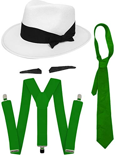 GANGSTER - Juego de accesorios para vestido de fantasía SPIV TASH + corbata verde + tirantes a juego + gorro trilby blanco de los años 20 para hombre al Capone (sombrero verde de 58 cm)