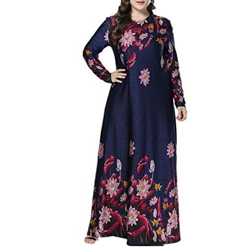 zhruiqun Damen Blumen Cocktail Abendkleid - Frauen Übergröße Elegant Maxikleider Dubai Abaya Kaftan Robe Gown (L)