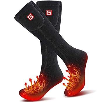 Svpro Chaussettes chauffantes Rechargeables Chaussettes d'hiver pour Temps Froid avec 3 Niveaux de température Réchauffement jusqu'à 12 Heures Chaussettes épaisses en Coton à Piles pour Homme Femme
