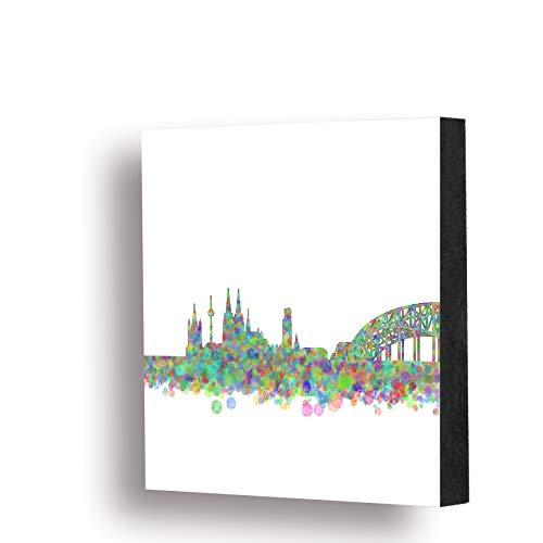 Köln Bild - Skyline bunt, 14x14cm, MDF, Geschenk, Deko, Dom, Cologne, Holz, Kunst, Kölngeschenk