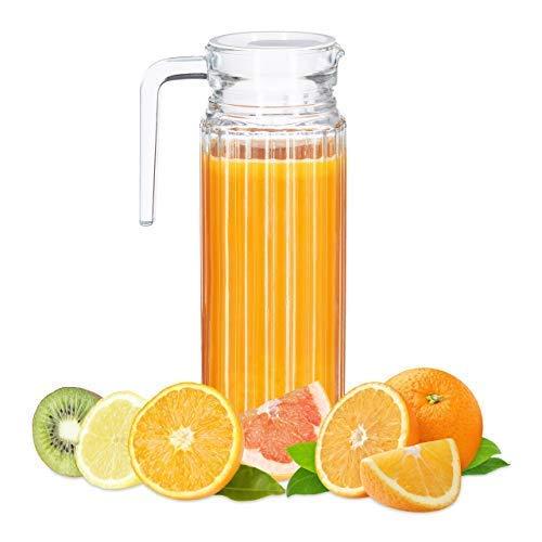 Relaxdays, klar Saftkrug 1 l, Gastro, Henkel, Glas, spülmaschinenfester Pitcher, Wasserkaraffe, Deckel, schmale Form, Standard