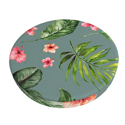 Round Bar Stools Cover,Tropische Grüne Hibiskusasche,Stretch Chair Seat Bar Stool Cover Seat Cushion Slipcovers Chair Cushion Cover Round Lift Chair Stool