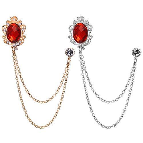 Huture 2 broches de metal para hombre, para blusas, accesorios para bufandas, alfileres, cristales, vintage, para mujer, oro y plata rojo