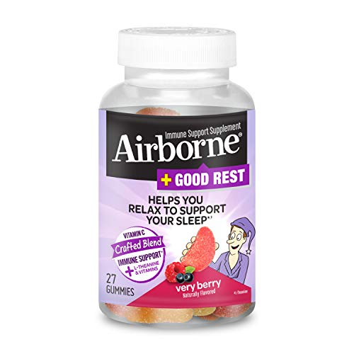 Vitamin C Blend + L-Theanine & Vitamins Good Rest - Airborne Very Berry Gummies (27 count in a bottle), Immune Support Supplement That Helps You Relax To Support Your Sleep?
