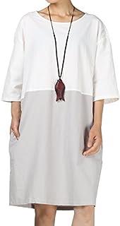 Mordenmiss Women's Cotton Linen Dress Color Block Shift Dresses M-3XL