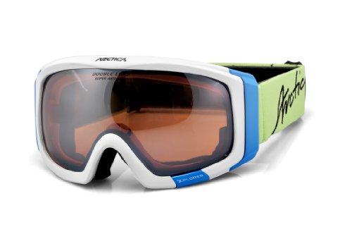 Arctica ® G-88 skibril, snowboardbril, dubbel glas, oranje, anti-fog skihelm, geschikt voor skihelm, perfecte houvast, design klassiek of dynamisch sportief, antiallergene materialen, sportief dynamisch - wit blauw mat