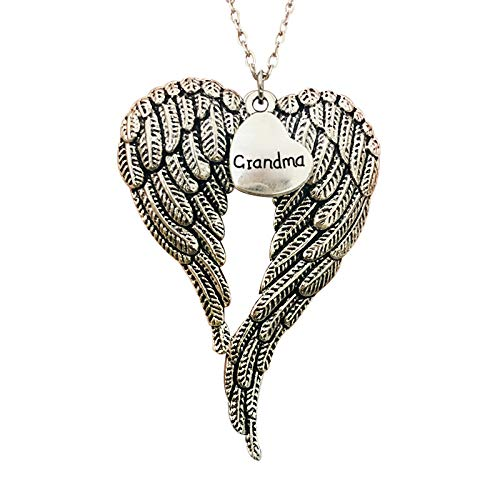 Part Of My Heart Is In Christmas Memorial Angel Wing Ornament Pendant Valentine's Day Mom Gift, Mothers Day Jewelry, Grandmother Birthday Gifts from Grandchildren Gift for Christmas for Mother Wife