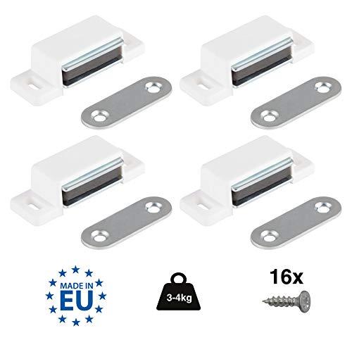 LouMaxx Magnetschnäpper stark - Haltekraft 4kg - 4er Set in weiß – Türmagnet - Magnetverschluss - Tür Magnet - Magnetverschluss Schrank - Magnet Türschließer - Magnet Schranktür