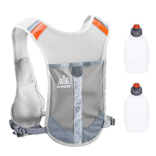 TRIWONDER Gilet de Course Réfléchissant Sac d'Hydratation Gilet Trail Veste Running Sac à Dos Léger pour Homme Femme Marathon Randonnée Vélo (Gris - avec 2 Bouteilles d'eau)