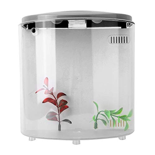 GOTOTOP Mini pecera, pequeña pecera acrílica de Escritorio alimentada por USB, Acuario silencioso de Baja Potencia LED para decoración de la casa con Filtro(Negro)