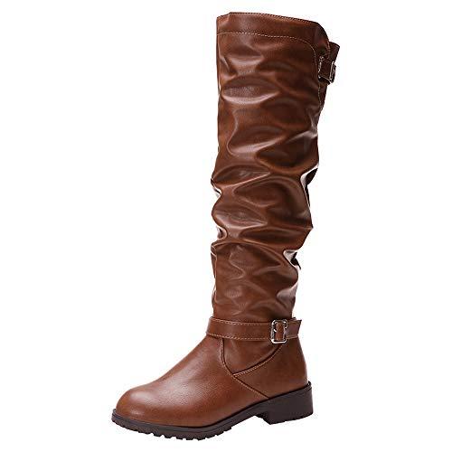 MYMYG Damen Stiefeletten Frauen Leder Reißverschluss runde Spitze hohe Stiefel Overknee-Schuhe Stiefel Einfarbige Chelsea Leder Stiefel Overknees Langschaft Freizeitschuhe