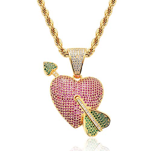 """Dxnbp Unisex Bubble Arrow Of Cupid Heart Pendant Hip Hop Iced Out Rhinestone Crystal Necklace 18k Gold Plated With 24"""" Stainless Rope Chain For Men Women"""