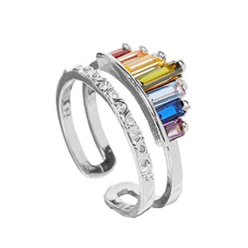 Merkts Double Band Rainbow Ring, Adjustable Wide Band Stacking Rainbow Crown Rings, Geometric Anniversary Promise Colorful Ring, Best Gift for Daughter Girl and Bestie