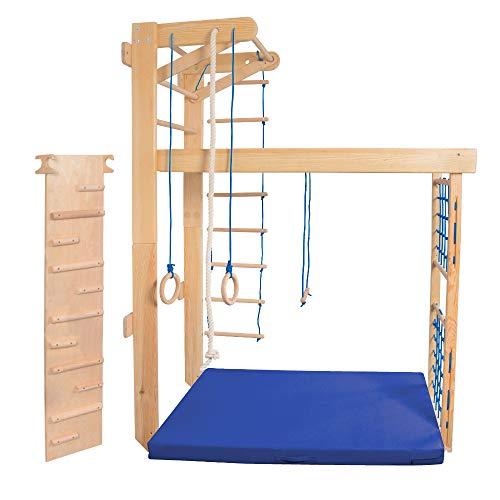 Kidsmont Kombi-Sprossenwand 5-in1 bis 150 KG Abnehmbarr Klappbar Klettergerüst Kletterwand Sport Gym für Kinder Matte Brettrutsche Blau Grau Türkis Grün Weiß