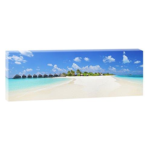 Malediven 2 | Panoramabild im XXL Format | Kunstdruck auf Leinwand | Wandbild | Poster | Fotografie | Verschiedene Formate und Farben (150 cm x 50 cm, Farbig)