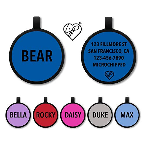 Love Your Pets Soundless Pet Tag - Deep Engraved Silicone – Double Sided and Engraving Will Last Choices of Pet ID Tags, Dog Tags, Cat Tags (Blue, Circle)