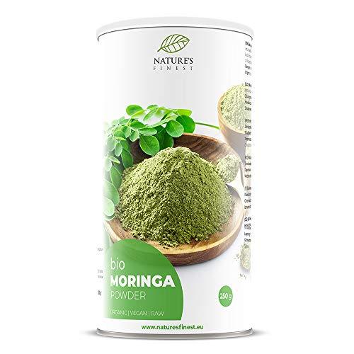 Nature's Finest Moringa Bio en Poudre 250g   Superfood Cru et Biologique   Riche en Vitamines, Minéraux et Protéines   Convient aux Vegans et Végétariens