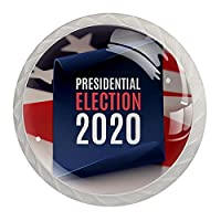 4個のキャビネットノブクリスタルガラスの引き出しハンドル大統領選挙2020ポスター ドレッサーデスクキッチンドア用