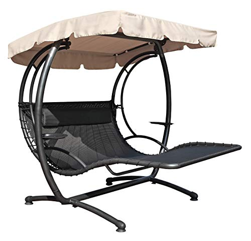 Jarder Swing Recliner 2-Seater Bed Seat With Canopy - Patio Garden Furniture