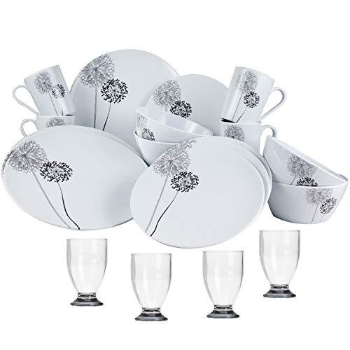 Melamin Geschirr Set 20 Teile mit Acryl Trinkglas - Gläser mit grauen Boden - für 4 Personen Weiß Schwarz - Essgeschirr Polyacryl Wasserglas Tumbler - Campinggeschirr Picknick Gamping modern Outdoor