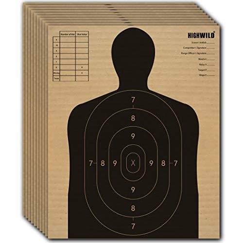 "Highwild 13"" X 16"" Cardboard Targets for Shooting, Torso Paper Targets - ISPC/USPSA/IDPA (Pack of 50)"
