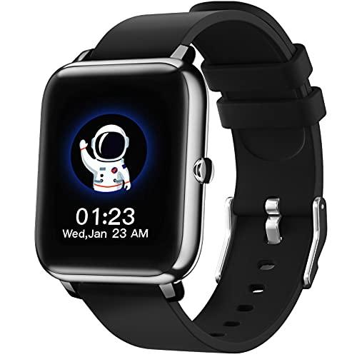 SmartWatch IDEALROYAL, Reloj Inteligente con Pantalla táctil IP68,Monitor de Sueño,Control de Musica,Pulsera Actividad Inteligente,Reloj Inteligente para Android e iOS(Negro)