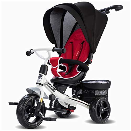 WWSC Baby Dreirad, 4-in-1 Kinderwagen, Lernfahrrad mit Abnehmbarer Leitplanke, verstellbarem Verdeck,...